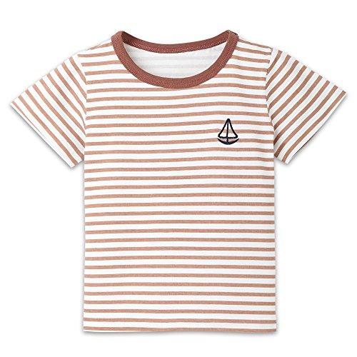 Sherostore ♡ Kids Boys Children's Toddler Striped T Shirts Short Sleeve Crew Neck Stripes Tee Shirt Coffee ()