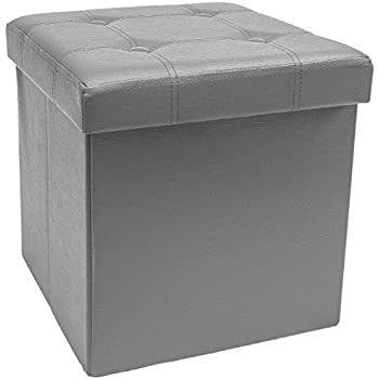 Sorbus Storage Ottoman – Collapsible/Folding Cube Ottoman with Cover–Perfect Hassock, Foot Stool, Seat, Coffee Table, Storage Chest, and more–Contemporary Faux leather (Gray)