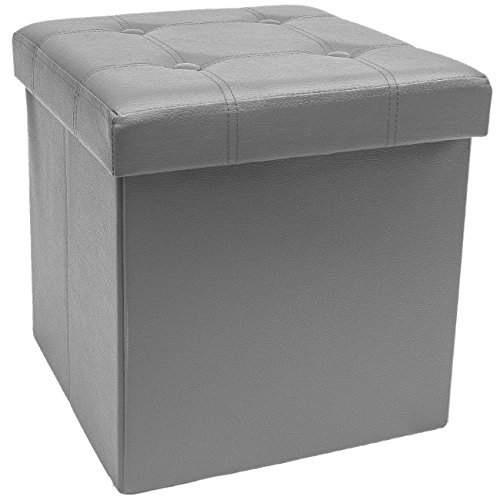 Sorbus Storage Ottoman Bench, Folding Cube Ottoman, Great for Hassock, Foot Stool, Seat, Coffee Table, Storage Chest, and More Contemporary, Faux Leather Gray