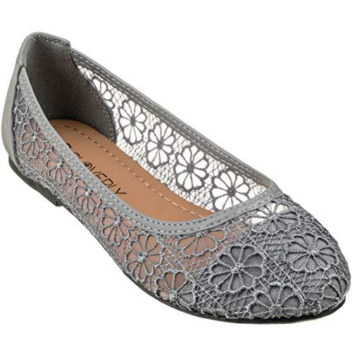 CLOVERLY Women's Ballet Shoe Floral Breathable Crochet Lace Ballet Flats (10 M US, -