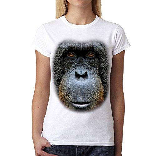 La Cara De Orangután Animales Mujer Camiseta S-2XL Nuevo Blanco
