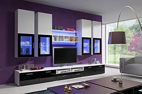 Muebles Bonitos – Mueble de salón Teresa negro y blanco (3 m), (otros colores disponibles)