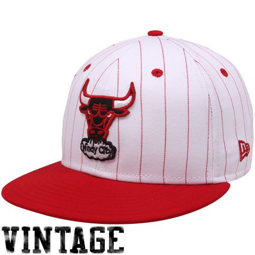 New Era Chicago Bulls White-Red Pinstripe 9Fifty Snapback Adjustable - Pinstripe Era Hat