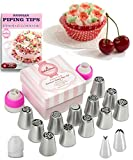 #1: Russian Piping Tips Set 30 pcs - 14 Icing Frosting Nozzles ( 2 Leaf Tips ) + 12 Baking Pastry Bags + 3 Couplers + Gift Box - Cake & Deco Cupcake Decorating Supplies Kit