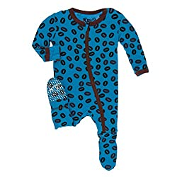 Kickee Pants Little Boys Print Footie With Zipper - Amazon Coffee Beans, 9-12 Months