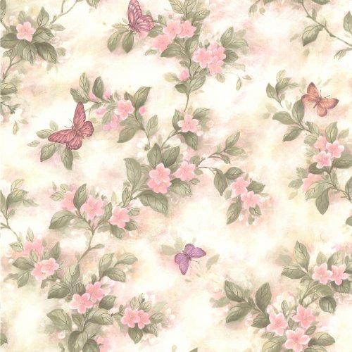 Brewster 436-65763 Lisa Pink Butterfly Floral Wallpaper, Pink ()
