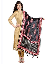 Dupatta Bazaar Women's block printed Pink & Black Silk Dupatta