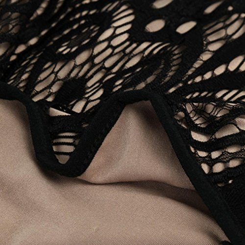 Bekleidung Longra Damen Sommer Lace Bodysuit Spielanzug-Overall Ärmellos U Ansatz-Trikotanzug Black PB6opa
