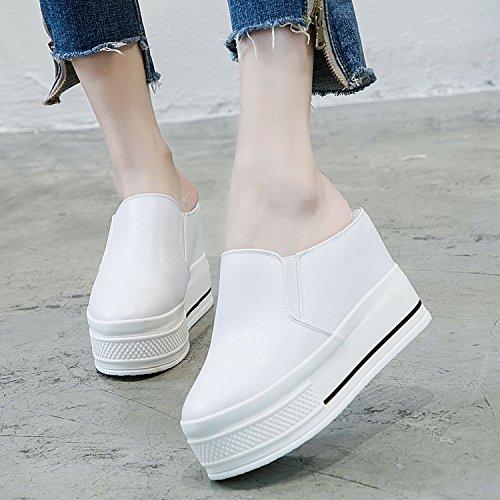 De KPHY Zapatos Muffin Más Zapatillas Baotou Adentro Semi Women 10Cm Tacones Ocio Zapatillas Altos Grueso Super Zapatillas Cool Fondo 'S white Verano grqrwvI