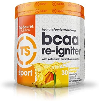 Top Secret Nutrition BCAA Re-Igniter Vegan Amino Acid Supplement with Astaxanthin and Electrolyte, Hydration Blend with Coconut water, 9.84 oz 30 servings , Pineapple Mango