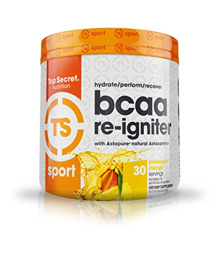 Top Secret Nutrition BCAA Re-Igniter Vegan Amino Acid Supplement with Astaxanthin and Electrolyte, Hydration Blend with Coconut Water, 9.84 oz (30 Servings), Pineapple Mango Review