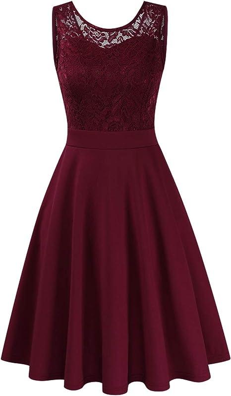 Clearlove Damen Kleider Elegant Cocktailkleid /Ärmellos V-Ausschnitt Vintage Abendkleid(Verpackung MEHRWEG)