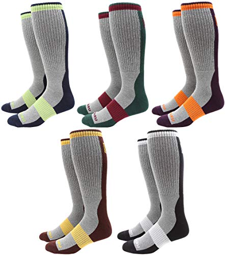 MIRMARU Men's 5 Pairs Multi Performance Over the Calf Outdoor Athletic Cushion Socks (5Pairs -Grey)