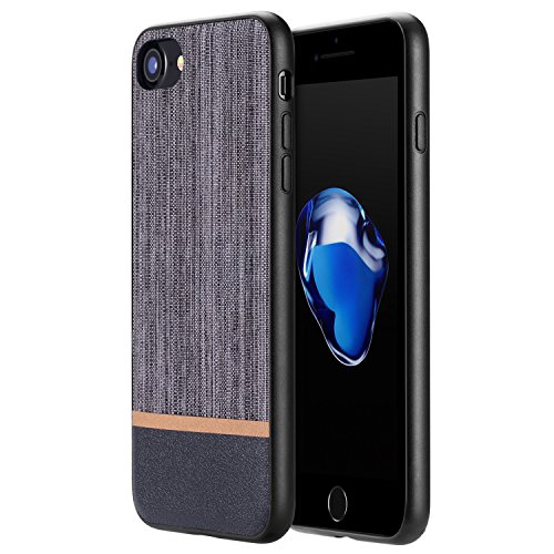 iPhone 8 Case, iPhone 7 Case, RANVOO [Canvas Series]Ultra Slim Thin Protective Hard Leather Cover Case for iPhone 8/7, Grey