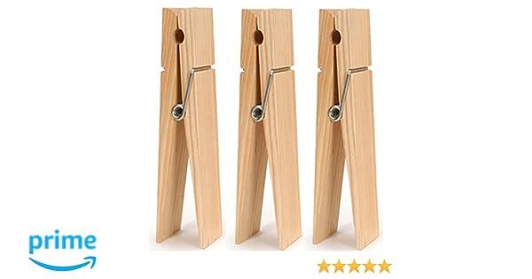 Amazon.com: 9 inch Jumbo Wood Clothespins - Set of 3 Big Clothes ...