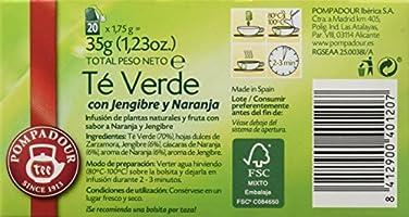 Pompadour Té Verde Jengibre y Naranja - 20 bolsitas: Amazon.es: Alimentación y bebidas