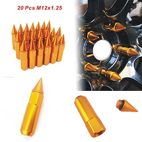 20pcs-aluminum-spike-tuner-extended-lug-nuts-for-wheels-rims-tire-screw-m12x125-60mm-gold