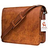 Urban Leather Handmade Over The Shoulder Laptop Bag for Men Women Boys Girls, With Shock Proof Macbook Padding , Size 15 inch