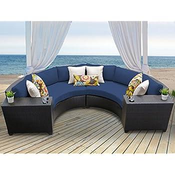 TK Classics BARBADOS 04c NAVY Barbados 4 Piece Outdoor Wicker Patio  Furniture Set,