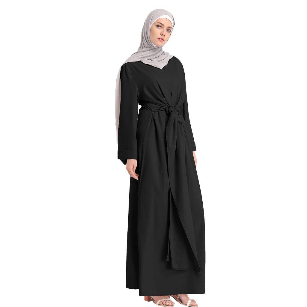 Muslim Dress Fashion Muslim Kaftan Women Soild Color Fake Two-Piece Sleeve Long Dress Middle East Long Maxi Dress Black