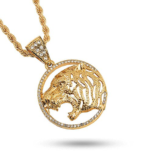 Hop Hip Bling Real (Technoking 20K Gold Plated Hiphop LION Pendant Necklace, High Fashion Iced Out Crystal Jewelry for Rapper Bling Chains 24 Inch with Free Earrings Gifted)