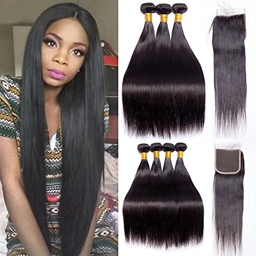 Maxine Peruvian Hair with Closure 9A Virgin Hair with Closure Straight Hair 3 Bundles with Free Part Lace Closure 4x4 Closure Natural Color Can be Dyed(16