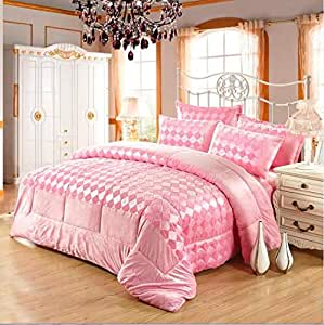 Luxe Soft Faux Fur 6 Pc Checkered Comforter Set-pink