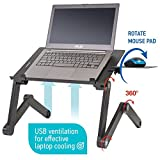 Wonder Worker Einstein Ergonomic Laptop Stand for Bed | Adjustable Portable Laptop Desk with 2 USB Cooling Fans and Mouse Pad | Very Comfortable Laptop Cooling Stand for Work and Relaxation, Black