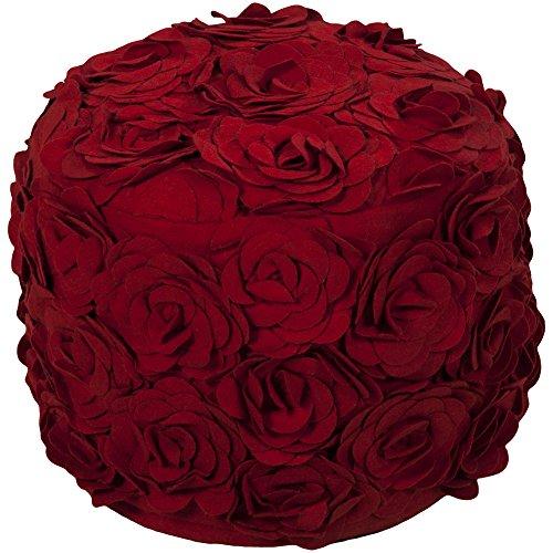Venetian Red Wool - Surya POUF-27 Hand Made 100% Wool Teal 18