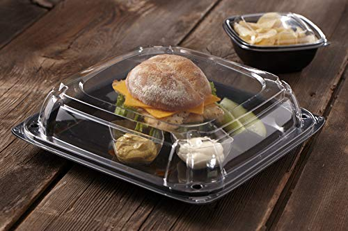 Sabert Black 10.7'' UltraStack Square Platter with Clear 3'' Dome Lid, Durable Plastic, Disposable, 25 Count by Sabert (Image #2)