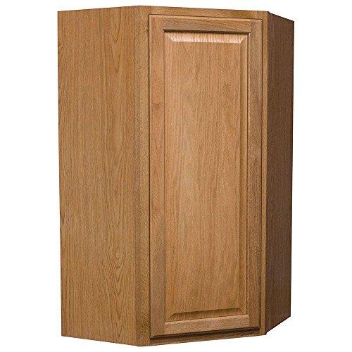 24x42x12 in. Hampton Wall Diagonal Corner Cabinet in Medium Oak