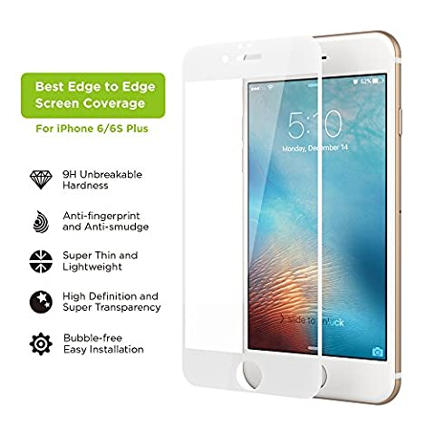 iPhone 6s Plus Screen Protector, Simpiz Shield Crystal Clear Ultra Thin Touchscreen Accuracy Hard 9H Tempered Glass Screen Cover for iPhone 6 Plus & iPhone 6S Plus - With Edge to Edge White (Iphone 4s Privacy Screen 3m)