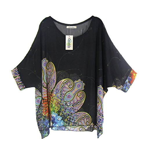 eck Loose Dolman Sleeve Tops Bohemian Chiffon Blouse T Shirt (Xl, Black) (Women Dolman Sleeve)