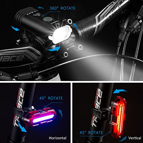 6 Modes 100 Lumens Back Cycling Light with Sensor Mode Yabife Bike Lights Sets Front Rear Waterproof Super Bright USB Rechargeable 4 Modes 350 Lumens Bicycle Headlights