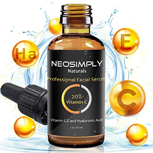 Neo Simply Naturals - 2 Oz Vitamin C 20% - Hyaluronic Acid & Vitamin E- Professional Grade - Serum Anti Aging Anti - Acne Treatment - Deep Hydration - Best For The Ultimate Face Rejuvenation