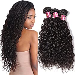 UNice 8A Grade Brazilian Water Wave 3 Bundles 100% Unprocessed Virgin Human Hair Weave (16 18 20, Natural Color)