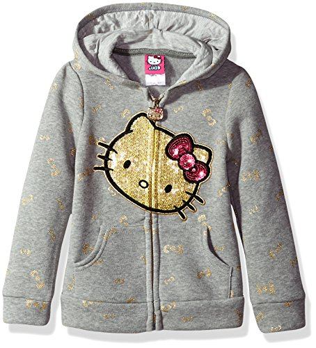 Hello Kitty Little Girls' Zip up Hoodie with Sequin Applique, Gray, 6 Image