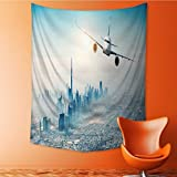 Polyester Tapestry Multi Purpose commercial airplane flying over modern city Wall Hanging for Bedroom Living Room Dorm 40W x 60L Inch