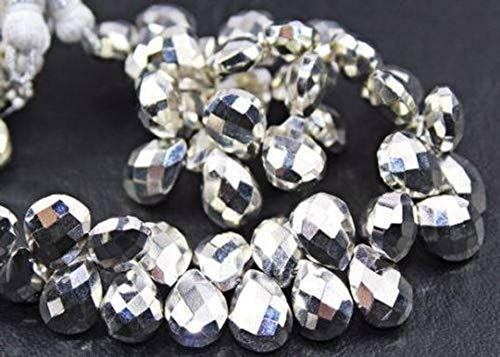 Beads Bazar Natural Beautiful jewellery Pyrite Silver Coated Faceted Briolette Pear Drop Gemstone Craft Loose Beads Strand 9 Pairs 11.5mmCode:- NY-430   B07L1WFXDL