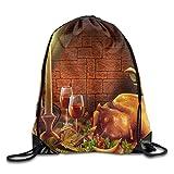 Thanksgiving Turkey Foldable Drawstring Bag Sport Backpack
