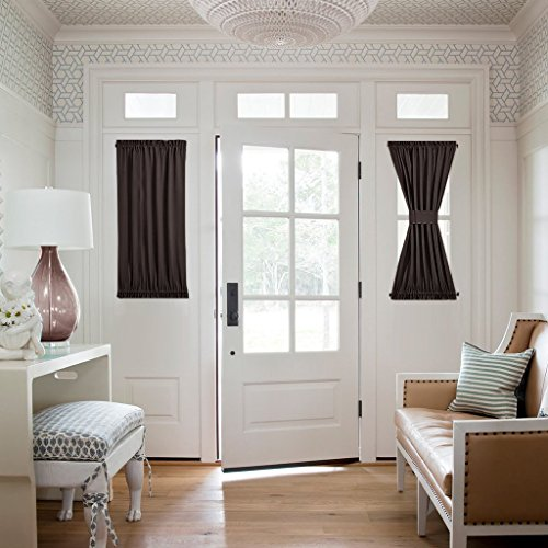 NICETOWN Privacy French Door Curtain - Functional Thermal Insulated Blackout Side Lights Curtain Panel (25W by 40L Inches, Toffee Brown, Single Panel) ()
