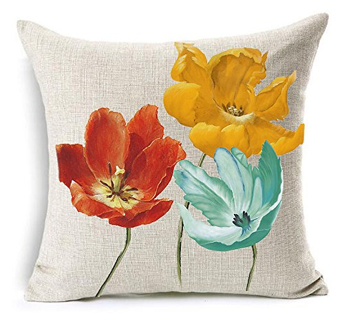 Cotton Linen Square Decorative Throw Pillow Case Cushion Cover Enchanting Beautiful Tricolor Red Yellow Blue Poppy Flowers Gift Anniversary Day Present 18