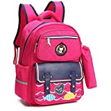 Kids School Bags Backpack for Girls with Pencil Case, Stylish and Waterproof Book Bags for Elementary School Fox World (ROSE RED)