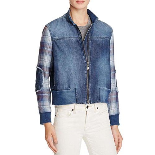 Bella Dahl Womens Denim Plaid Jean Jacket XS