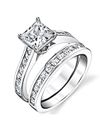 Metal Masters Co.® Sterling Silver Princess Cut Bridal Set Engagement Wedding Ring Bands With Cubic Zirconia