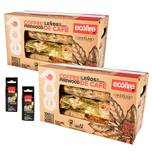 ECOFIRE 100% Natural Coffee Lump Fire Wood, 13.2 lbs, Free Fire Starters, BBQ, Camping, Smoker, Fireplace, Indoor/Outdoor