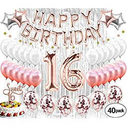 16th Birthday Decorations Party Supplies Sweet 16 Birthday balloons| Rose gold Confetti Balloons|16 Cake Topper Rose Gold| Metallic silver curtain for Photo booth and props| Sweet Sixteen Decorations