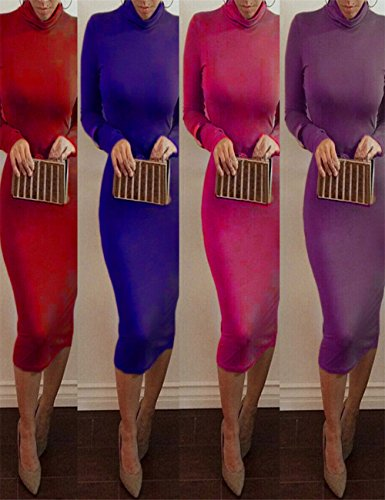 Stretch Women Party Club Christmas Sleeve Long Turtleneck Dress Midi Burgundy Bridal Bess 5XZnwqHSw