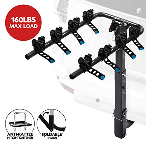 LITE-WAY 4-Bike Hitch Mounted Rack - Heavy Duty Bicycle Carrier Fit Most Sedans, Hatchbacks, Minivans, SUV (2 Inch Receiver) ()