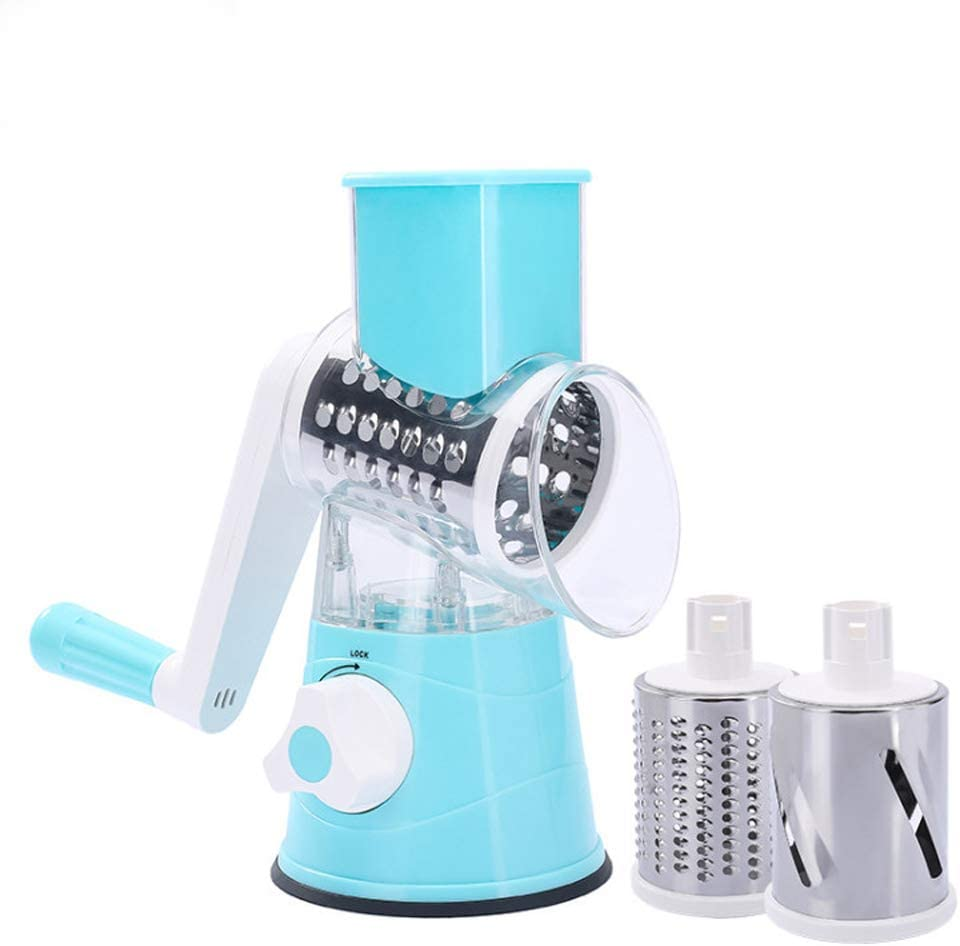 Graters for Kitchen, Kitchen Vegetable Slicer with 3 Interchangeable Blades, Easy to Clean Rotary Grater Slicer, for Fruit, Vegetables, Potato(Blue)